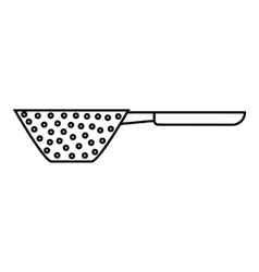Colander with handle icon outline style vector
