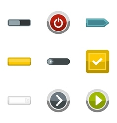 Different buttons icons set flat style vector image