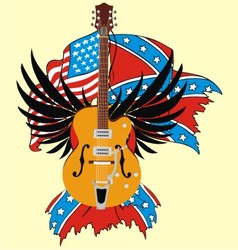 Electric guitar and flag vector
