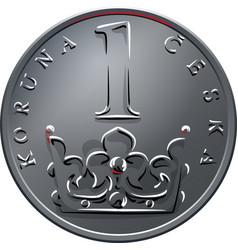 Money one czech crones coin reverse vector