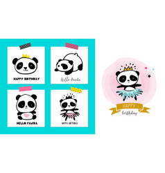 Cute panda bears simple style cards posters vector