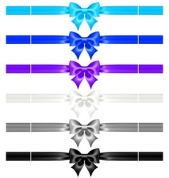 Bows with ribbons of cool colors vector