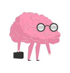 Smart brain wearing glasses and with suitcase vector