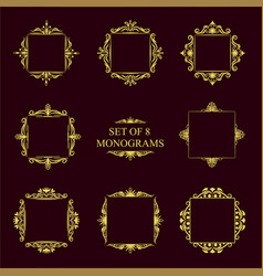 Set of eight decorative vintage monograms vector