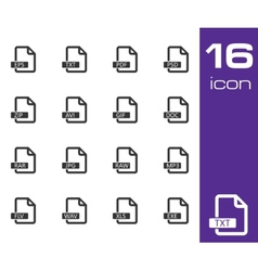 Black file format icons set vector