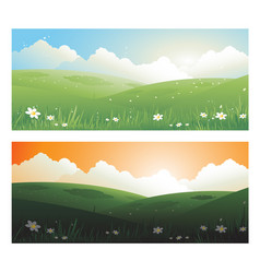 2 springs banners landscape day and sunscape with vector