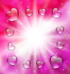 Llighten background with glassy hearts for vector