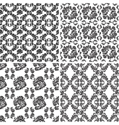 floral pattern seamless background flowers set vector image