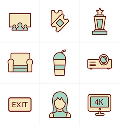 Icons style cinema and movie icons set vector