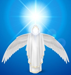 White angel against sky background vector