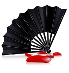 Black fan and red petals vector
