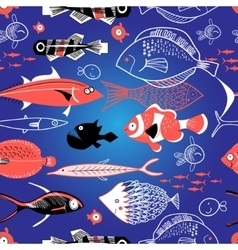 Seamless pattern of bright fish vector