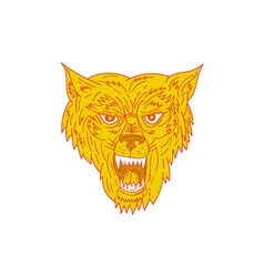 Angry wolf head mono line vector