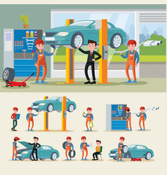 auto mechanics composition vector image vector image