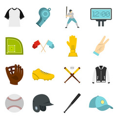 Baseball icons set in flat style vector