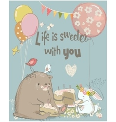 Birthday card with cute bear and hare vector