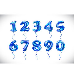 blue number 1 2 3 4 5 6 7 8 9 0 metallic balloon vector image