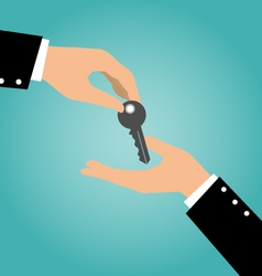 Business hand giving a key to another hand vector