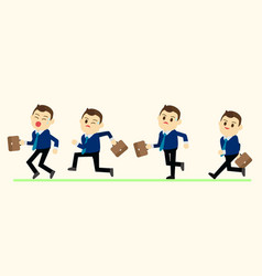 Business man in run action on green ground vector