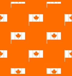 Canada flag with flagpole pattern seamless vector