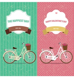 Card bicycle set vector
