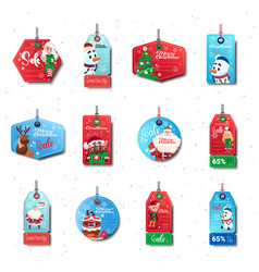 christmas sale tags set of colorful special offer vector image
