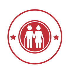 Circular border with pictogram elderly couple with vector