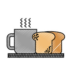 coffee cup with bread hot beverage breakfast vector image