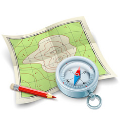 Compass map and pencil for vector image vector image