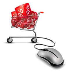 Computer mouse and a shopping cart with cube in it vector image vector image