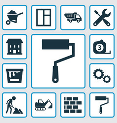 Construction icons set collection of cogwheel vector