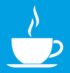 cup of hot drink icon white vector image
