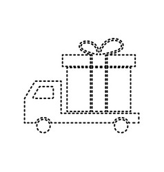 Delivery gift sign black dashed icon on vector