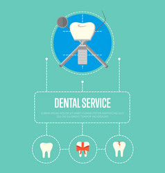 dental service banner with tooth implant vector image vector image