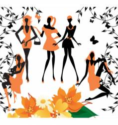 fashion girls silhouettes vector image