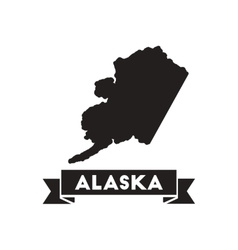 Flat icon in black and white alaska map vector