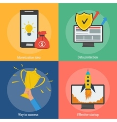 Four square success concepts vector image