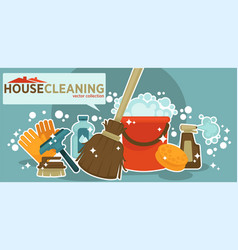 House cleaning collection of shiny work vector