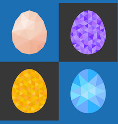 Low poly and geometric eggs vector