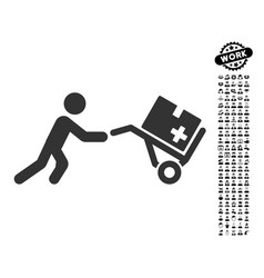 medical shopping cart icon with work bonus vector image