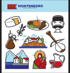 Montenegro tourism travel famous symbols and vector