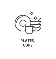 plates cups line icon outline sign linear vector image