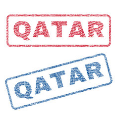 Qatar textile stamps vector
