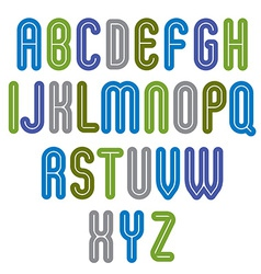 Rounded vivid striped distinct font geometric bold vector
