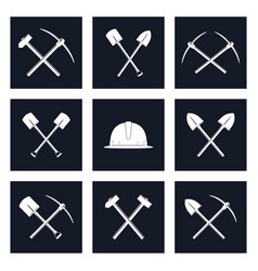 Set icons of working tools vector