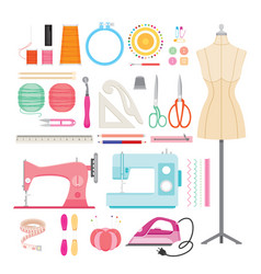 sewing kits icons set vector image