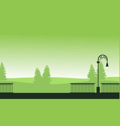 Silhouette landscape garden with street lamp vector