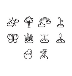 thin line spring season icon set vector image