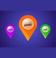 You are here signs with map pointer pin shape and vector