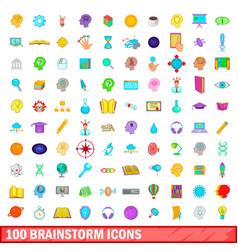 100 brainstorm icons set cartoon style vector